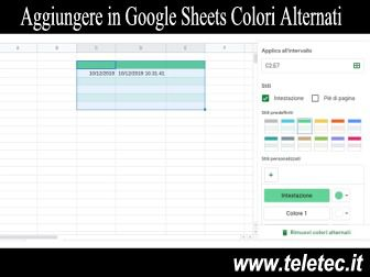 Come Aggiungere in Google Sheets le Celle con Colori Alternati
