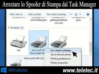 Come arrestare lo spooler di stampa in windows con il task manager