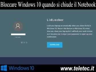 Come Bloccare Windows 10 quando si chiude il Notebook