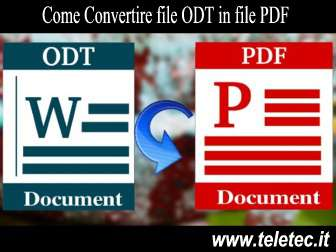 Come Convertire file ODT in file PDF