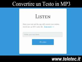 Come Convertire Online un Testo in MP3