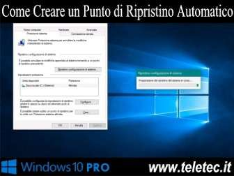 Come Creare un Punto di Ripristino Automatico quando usi Windows Defender su Windows 10 PRO
