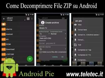 Come decomprimere file zip su android pie