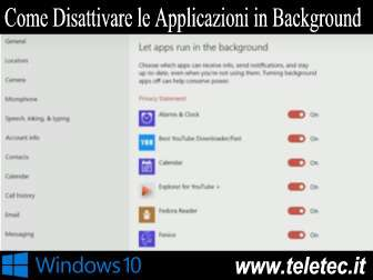 Come Disattivare le Applicazioni in Background in Windows 10