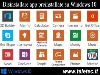 Come Disinstallare le App Preinstallate su Windows 10