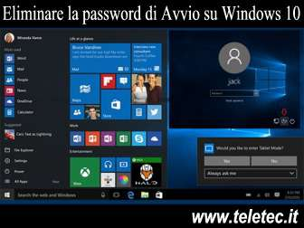 Come eliminare la password di avvio su windows 10