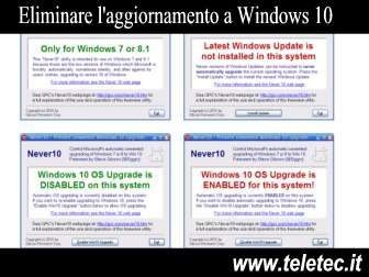 Come eliminare laggiornamento a windows 10