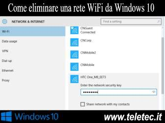 Come Eliminare una Rete WiFi da Windows 10