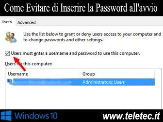 Come Evitare di Inserire la Password all'Avvio su Windows 10