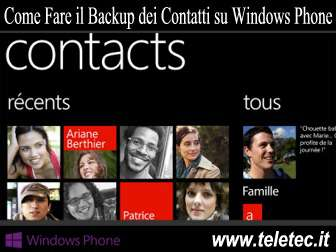 Come Fare il Backup dei Contatti su Windows Phone