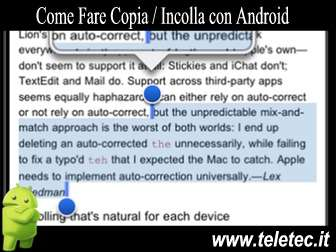 Come Fare Taglia, Copia e Incolla con Android