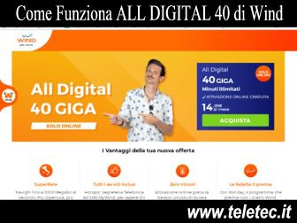 Come Funziona ALL DIGITAL 40 di Wind con 40 Giga e Minuti Illimitati a 14,99