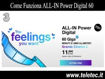 Come Funziona ALL-IN Power Digital 60 di Tre con 60 GB a 11,99 Euro al Mese - Settembre 2020