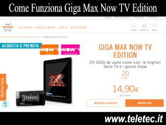 Come Funziona Giga Max Now TV Edition di Wind - 20 GB di Internet