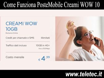 Come Funziona PosteMobile Creami WOW - 10 GB e Credit Illimitati a 4,99 Euro