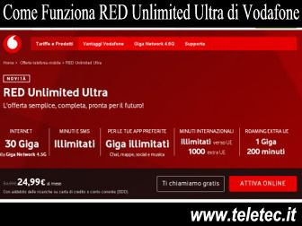 Come Funziona RED Unlimited Ultra di Vodafone con 30 GB e Minuti Illimitati a 24,99 - Dicembre 2019
