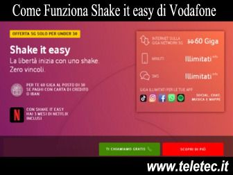 Come Funziona Shake It Easy di Vodafone con 60 GB in 5G e Minuti Illimitati a 14,99 per gli Under 30 - Giugno 2020