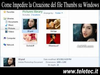 Come Impedire la Creazione del file Thumbs su Windows