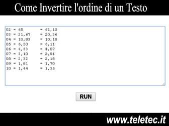 Come Invertire l'ordine di un Testo