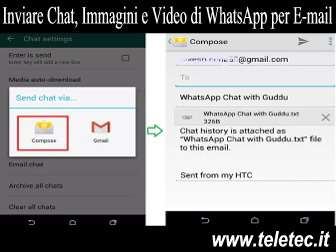 Come Inviare Chat, Immagini e Video di WhatsApp per E-mail