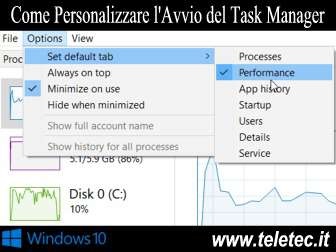 Come personalizzare lavvio del task manager di windows 10