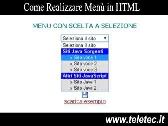 Come realizzare men in html