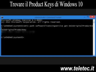 Come Recuperare il Codice Product Key di Windows 10
