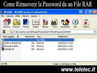 Come rimuovere la password da un file rar o zip