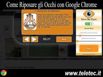 Come Riposare gli Occhi con Google Chrome e Save My Eyes