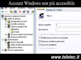 Come Risolvere il problema di Account Windows non più accessibile