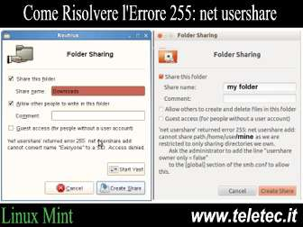 Come Risolvere l'Errore 255: net usershare: cannot open usershare directory su Linux