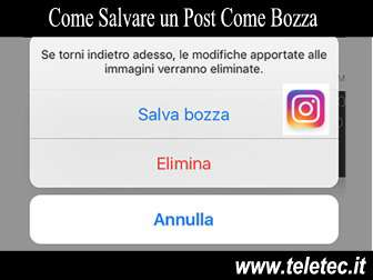 Come Salvare un Post Come Bozza su Instagram