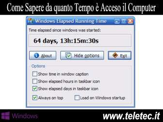 Come Sapere da quanto Tempo è Acceso il Computer - Windows Elapsed Running Time